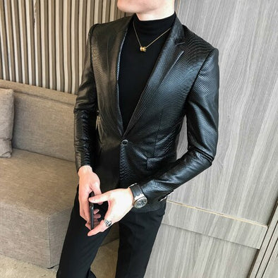 New High-end Mens Black Long-sleeved PU Leather Coat - BC&ACI