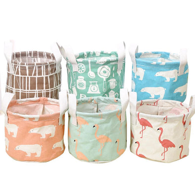 Household Fabric Waterproof Portable Cotton And Hemp Lovely Folded Storage Basket Living Room Home Supplies