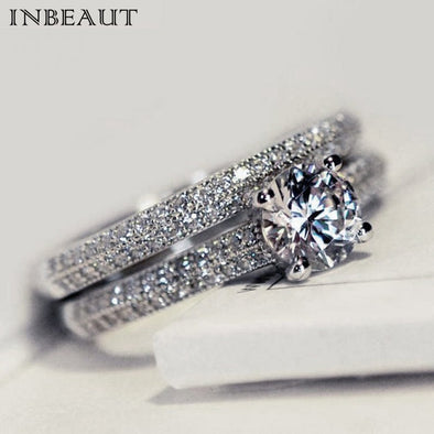 INBEAUT Women Wedding Ring Set Sparkling Perfect Round Cut Zircon Stone Rings Female