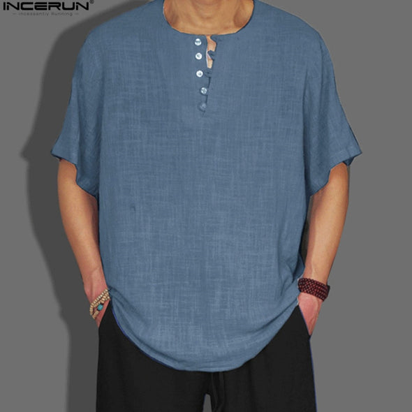 New INCERUN Style Summer Mens Shirt Basic Blouse Solid Color - BC&ACI