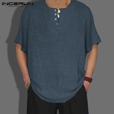 INCERUN Style 2018 Summer Mens Shirt Basic Blouse Solid Color Button Decor Casual Loose - BC&ACI