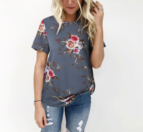 INDJXND New Arrival Summer Blouse Women Tops Floral Print Shirts Elegant Casual Short Sleeve - BC&ACI