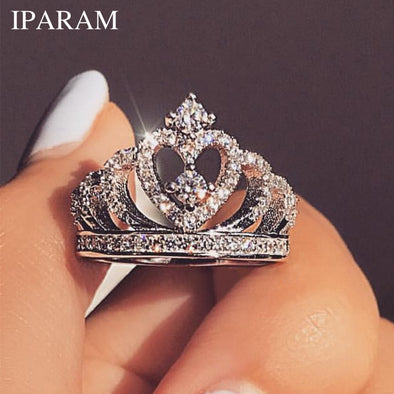 IPARAM Fashion Luxury Silver Zirconia Crown Ring Women's Wedding Party AAA Zircon Crystal