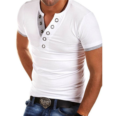 New IceLion Summer T Shirt Men Button V Neck Short Sleeve T-shirt Fashion Hit Color Slim - BC&ACI