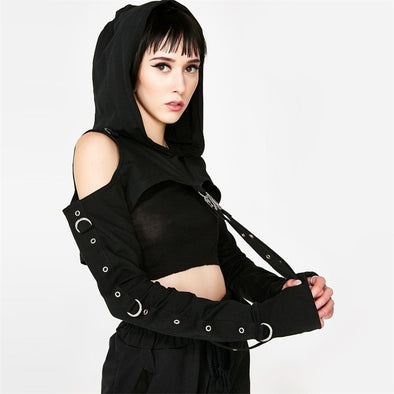 InstaHot Black Cold Shoulder Hooded Hoodies Women Gothic Sexy Autumn Long Sleeve - BC&ACI