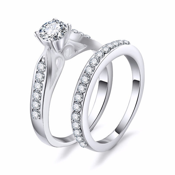 KISSWIFE 2pcs/lot Silver Double Rings Set Engagement Woman Cubic Zirconia Ring For Women Ladies Lover Party Wedding Jewelry