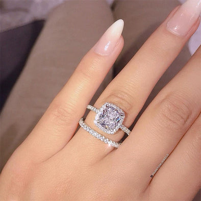 New KISSWIFE 2pcs/lot Silver Double Rings Set Engagement Woman Cubic - BC&ACI
