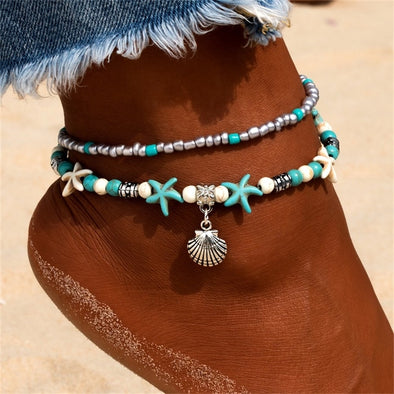 New KISSWIFE Vintage Shell Beads Anklets For Women New Multi Layer - BC&ACI