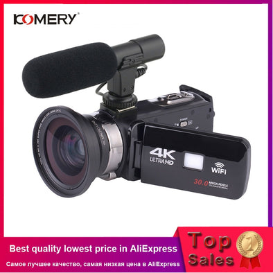 KOMERY 4K Camcorder Video Camera Wifi Night Vision 3.0 Inch LCD