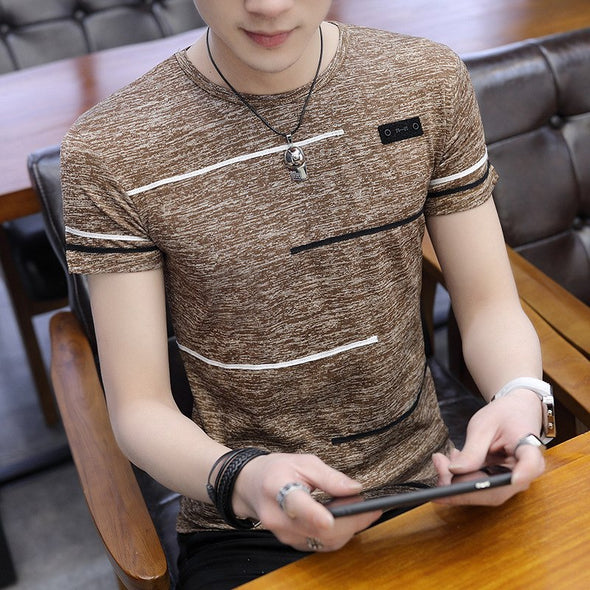 Korean Short Sleeve T Shirt Man O Neck Polyester Mens T Shirt Summer