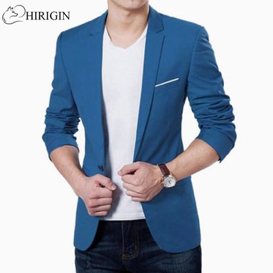 Korean fashion slim fit cotton blazer Mens Suit Jacket black blue - BC&ACI
