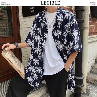 LEGIBLE Floral Shirt Men 2019 Men Korean Fashion Short Sleeve Shirt - BC&ACI