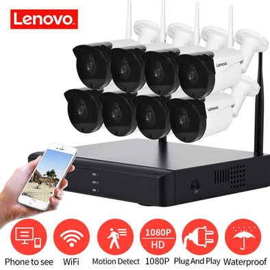 LENOVO Wireless CCTV System 1080P  outdoor CCTV Camera 2MP 8CH