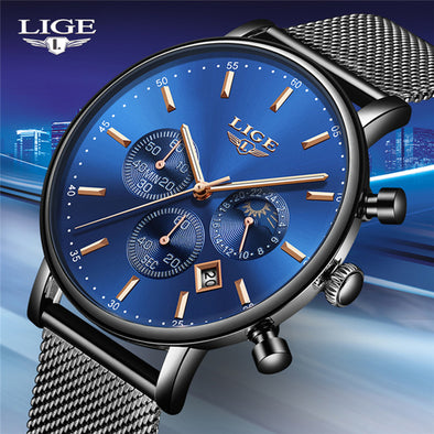 LIGE Fashion Men Watches Male Top Brand Luxury Quartz Watch Men