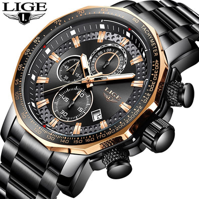 LIGE Gold Watch Men Top Brand Luxury Waterproof Calendar Wristwatch