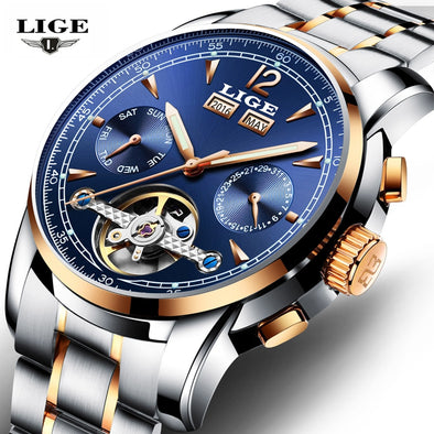 LIGE Men Watches Top Brand Luxury Automatic Mechanical Watch Men - BC&ACI