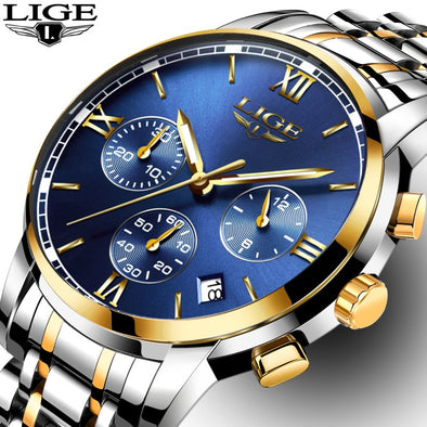 New Men's High-Quality LIGE Stainless Steel Watch - BC&ACI