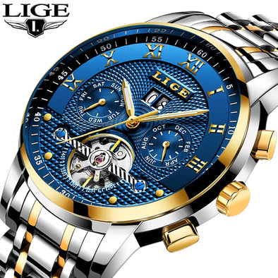 LIGE Mens Watches Top Brand Business Fashion Automatic Mechanical - BC&ACI