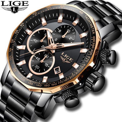 New Men's LIGE Big Dial Stainless Steel Illuminating Watch - BC&ACI