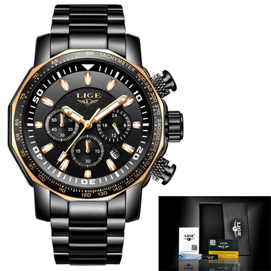 New Men's LIGE Stainless Steel Military-Style Watch - BC&ACI