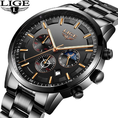 New Men's LIGE Sport Water Resistant Stainless Watch - BC&ACI