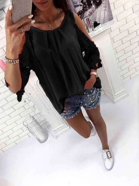 New High Quality Women's Casual Hollow Lace Sleeved Blouse - BC&ACI