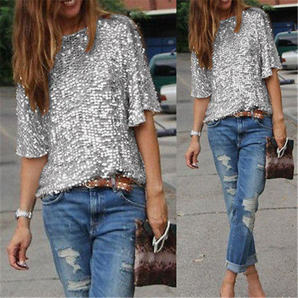 New Ladies Off-shoulder Sexy Slim Loose Shirt Top Glistening Sequin T-shirt Tshirts Tees Boutique - BC&ACI