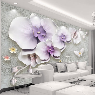 Large Custom Mural Wallpaper For Walls 3 D Stereoscopic Relief Phalaenopsis Flower - BC&ACI