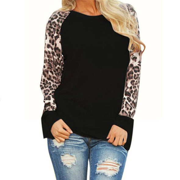 New Leopard Women Top Blouses Long Sleeve Patchwork Shirt Tunic - BC&ACI