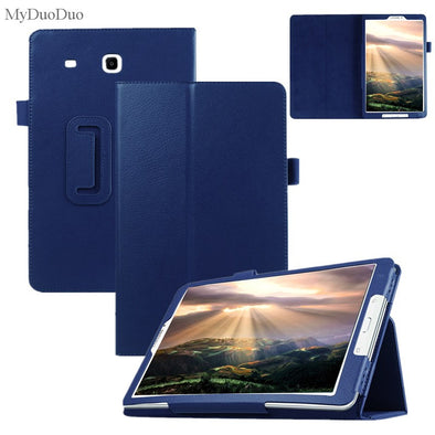 "New Litchi Tablet Case For Samsung Galaxy Tab E 9.6"" T560 SM-T561 Flip Stand PU Leather - BC&ACI"