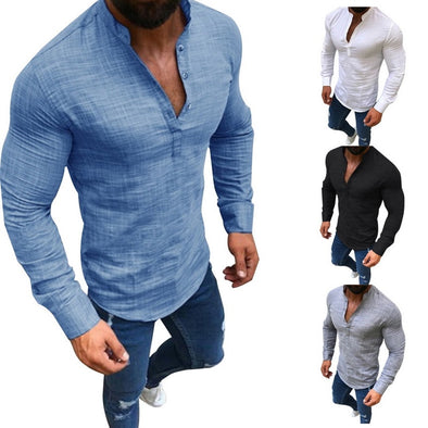 Long Sleeve Tee Shirt Men 2019 Spring Summer New Top Stand Collar Slim Casual Linen Solid Color Half Open Shirts Office Tops