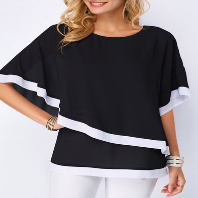 Lossky Summer Casual Women's Chiffon Shirt 2019 Bat Sleeve Stitching Irregular Loose