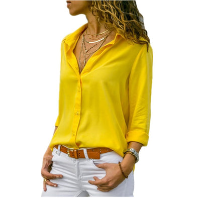 Long Sleeve Solid V-Neck Chiffon Blouse