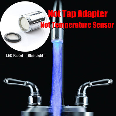 Luminous Light-up LED Water Faucet Shower Tap Basin Water Nozzle Bathroom Kitchen Heater Faucets thermostat Blue 3Color 7 Colors - BC&ACI