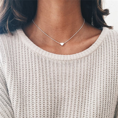 New Lusion Jewelry Fashion Gold Sliver Color Simple Heart Choker Necklace Love Necklaces & Pendants - BC&ACI