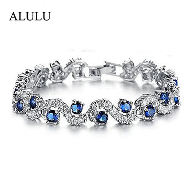 Pretty Luxury Blue Crystal Bracelet For Wedding Silver Bracelet Rhinestone - BC&ACI