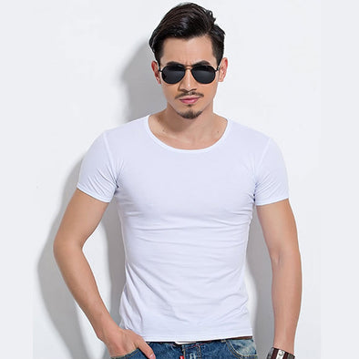 Lycra Men'S T Shirt Short Sleeve T-Shirt O-Neck Slim Solid Color Half Sleeved Tee Shirt 2018 MRMT - BC&ACI