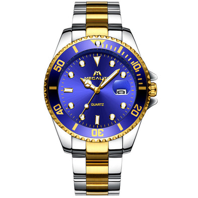 New MEGALITH Gold Watch Men Top Brand Luxury Waterproof Calendar Wristwatch Stainless Steel Analogue Men Clock - BC&ACI