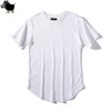Man Si Tun Solid Color Curve Hem Casual Mens T-shirt Longline 2019 - BC&ACI