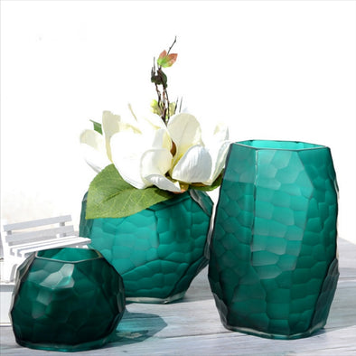 Manual grinding carved glass vase Modern StyleTabletop Flower Wedding Decorative Furnishing articles design vase Home decoration