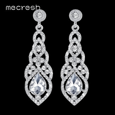 Mecresh Crystal Wedding Earrings for Women Cute Silver Black Gold