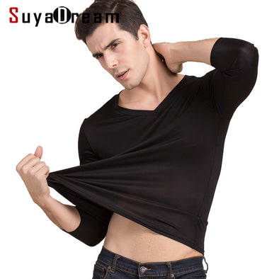 Men basic T shirt 100%Natural Silk V neck Solid shirt long Sleeve top Mens silk top White Black Grey 2018 New Spring Summer