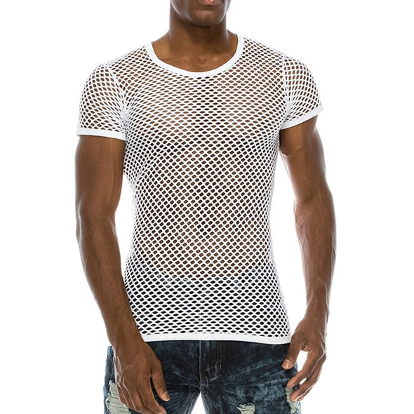 Men's Mesh See-through Fishnet T Shirt 2018 Fashion Sexy Short Sleeve - BC&ACI