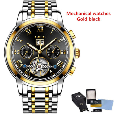 New Mens Watches Top Brand LIGE Fashion Luxury  Automatic Mechanical - BC&ACI