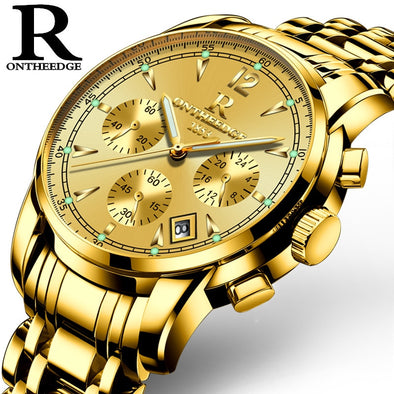 New Mens luxury gold wristwatches male brand watches quartz - BC&ACI