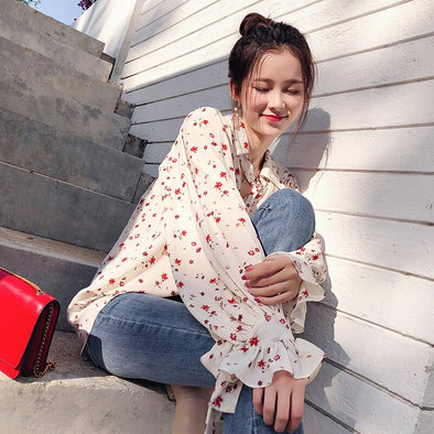 Mishow 2019 Women Fashion Casual Chiffon Tops Floral Long Sleeve Blouse Ladies