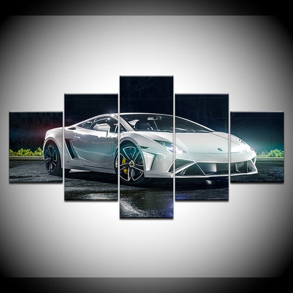 New Modern Wall Art Decor Frame 5 Panel Pictures HD Prints White Lamborghini - BC&ACI