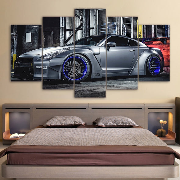 New Modular Wall Art Sports Car Poster 5 Pieces NISSAN GTR R35 5 Painting Framed - BC&ACI