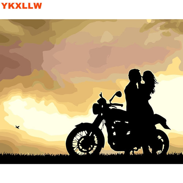 New Motorcycle Love Picture Painting By Numbers Kits Number Oil Painting - BC&ACI