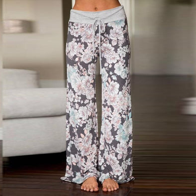 New Sleep Bottoms Women Floral Print Pants Trousers Drawstring - BC&ACI
